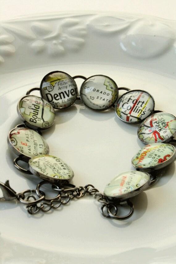 For Lisa -Map Jewelry,Jewelry, Bracelet, Colorado,Skiiers Gift, Christmas Gifts, Gun Smoke Metal Finish, Colorado Gifts