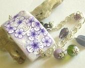 Light Lilac Flowers Cuff Bracelet - Polymer Clay