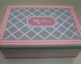Girl's Personalized Keepsake Box- Pink and Gray -Birthday, Christening, Baby Naming Adoption