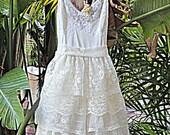 Bohemian Lace Bridal Short Vintage Slip Wedding Dress Reclaimed Romantic Bridesmaid Dress Made to Order