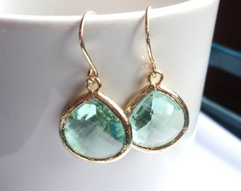 Prasiolite green amethyst gold large tear drop GLASS dangle drop earrings. Bridal earrings.  Bridesmaids earrings. Wedding jewelry.