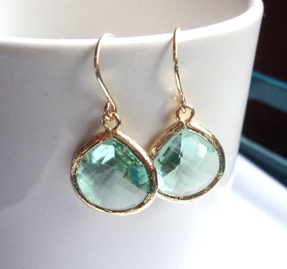 Prasiolite large tear drop GLASS earrings. Dangles. Bridal earrings. Bridesmaids earrings. Bridesmaid earrings. Wedding jewelry.