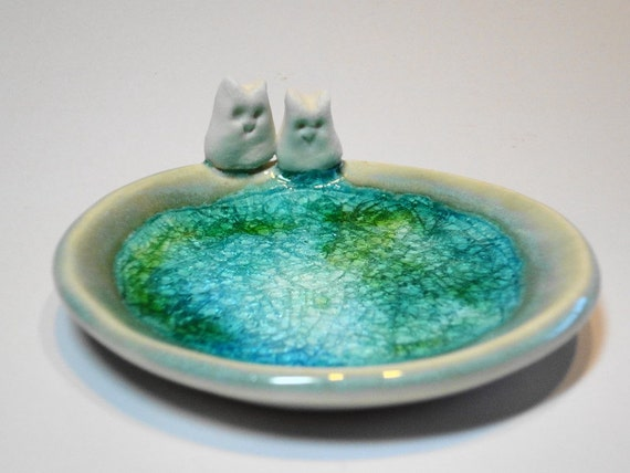 Little Owls - Ceramic Dish with Recycle Glass