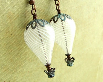 Hot Air Balloon Earrings in White and Copper Green Patina - Steampunk Earrings with blown glass beads - Wedding Jewelry