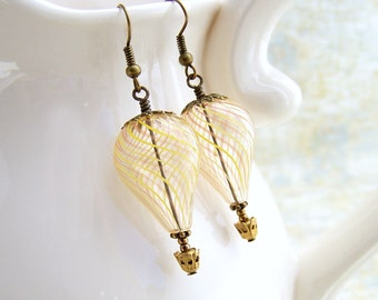 Sweet Hot Air Balloon Earrings with antique gold basket and bronze findings - peach and yellow swirls with brass filigree