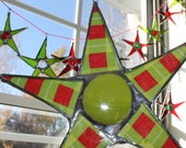 Merry Christmas Star- 6 inch lacquered fabric and stained glass ornament