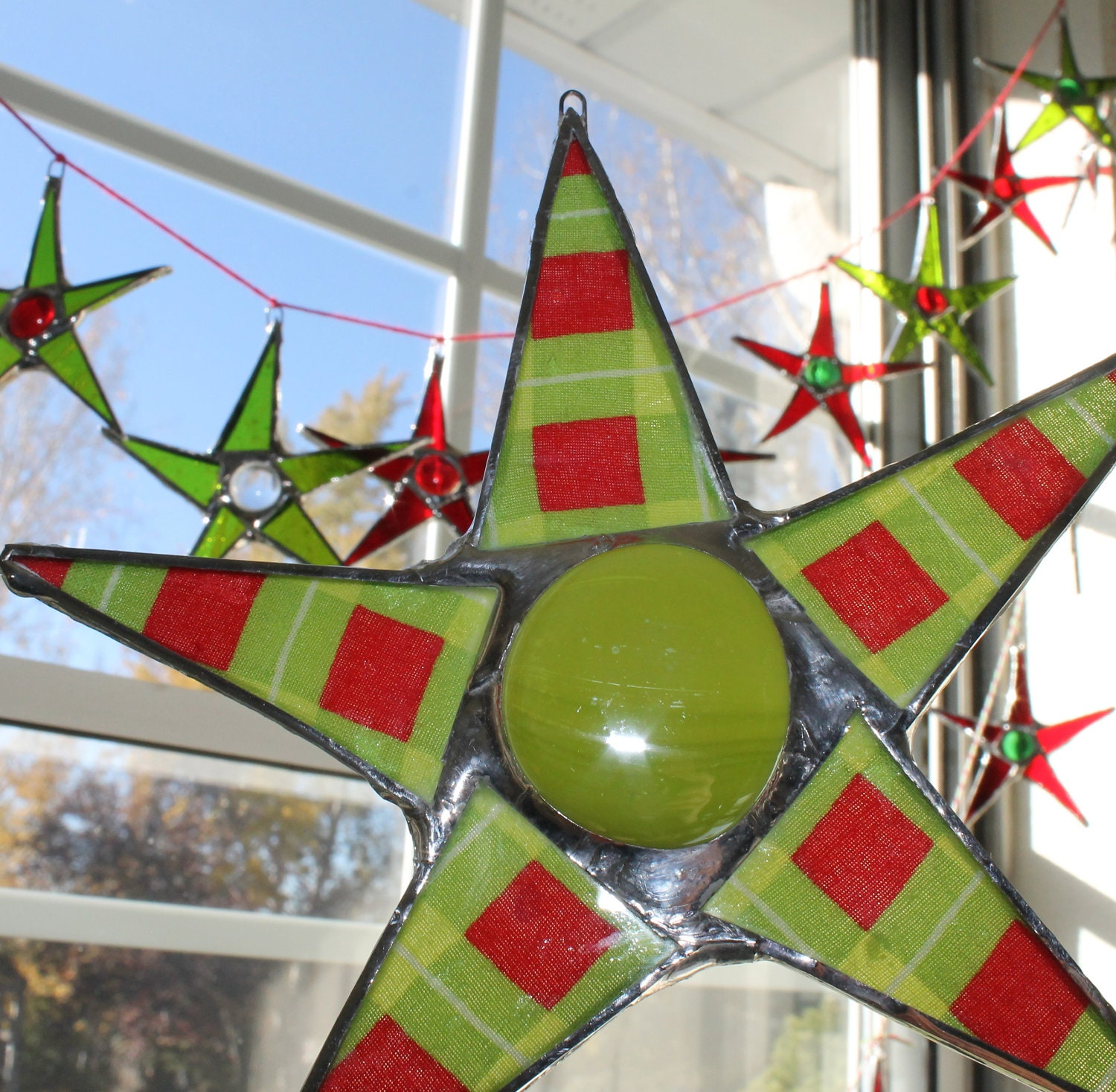 Merry Christmas Star 6 inch lacquered fabric and stained