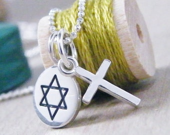 tiny star of david and cross sterling silver charm necklace