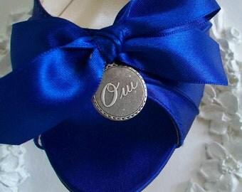Blue Wedding Shoes -100 Colors - Mid Heel Peep Toe Wedding Shoes - French Oui Wedding Charm Shoes - Blue Dyeable Wedding Shoes By Parisxox