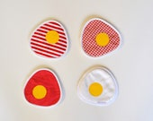 sunny side up fun fabric coasters - fried eggs - set of 4x - white and red tones - new house housewarming gift - unique hostess gift