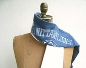 Upcycled Recycled Penn State T Shirt Scarf / Blue White / Unisex / Men / Autumn / Fall / Cotton / Soft / Gift for Under 25 / by ohzie