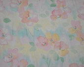 Easter Spring Pink, Peach, Sage Green, and Yellow Flower Flannel Fabric for Quilt Backings, Blankets, Bags
