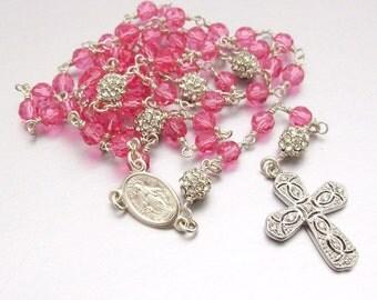 Sterling Silver Swarovski Crystal Catholic Rosary