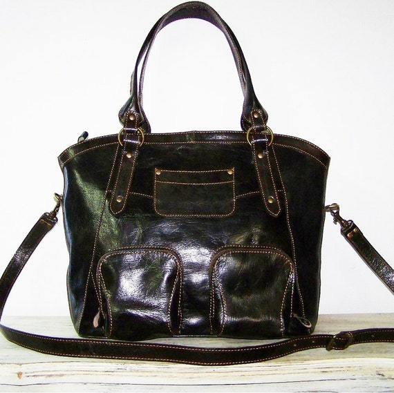 "Dark Brown Leather Tote Handbag Shoulder Crossbody Bag Magui L, fits a 13"" laptop"
