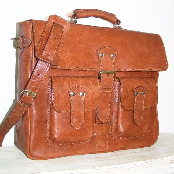 "15"" Leather Messenger / Briefcase / Cross-body Bag / Maor in caramel brown, fits a 15"" and 13"" laptop"
