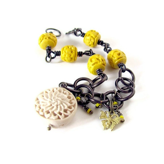 Butterfly Bracelet unique jewelry flower jewelry yellow cinnabar boho jewelry rustic bracelet