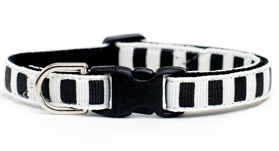 The Wingman - Cat Collar - Black and White Stripes
