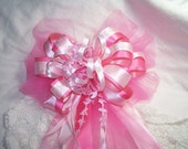 """Super Fancy Baby Girl Bow """"It's a Girl"""" Extra Large Handmade Pink Ribbon Decoration Shower Party"""