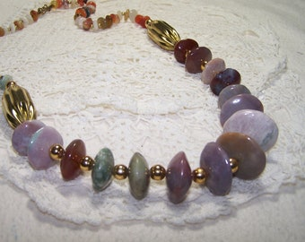Large Agate Gemstone Necklace Vintage Jewelry Autumn Colors Gold Beads Purple Green Bulky Statement Piece VTG