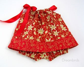 Baby Girls Red and Gold Party Dress - Red Dress with Metallic Gold Flowers - Red Dress with Gold Accents - Size Nb, 3m, 6m, 9m, 12m or 18m