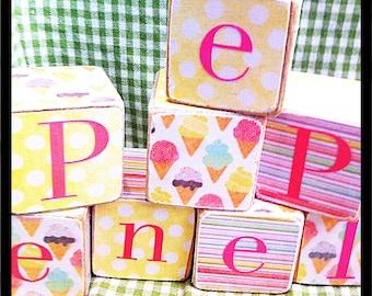 Ice cream decor - personalized wood name blocks - kids gift - personalized wood blocks name nursery decor blocks - birth announcements