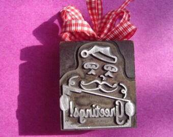 Letterpress Printer's Block - Greetings With Santa