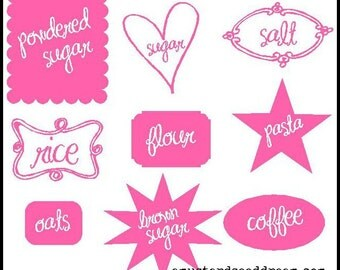 Decorative Canister Labels - Kitchen Accessory -  Vinyl Wall Art - Lettering