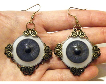 Steampunk Blue Glass Eye Necklace Golden Gothic Earrings Large