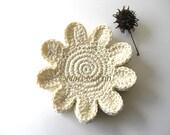 Vanilla Flowers Crochet Coasters . Beverage Drink Petal Tea Cream Natural Wedding Stone Bone Decor Crochet Spring Garden Collection