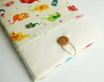 Ipad case sleeve for ipad 4 ,ipad 3 ,ipad 2 -PADDED - FRONT POCKET- colorful elephant