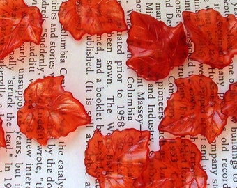 Translucent Leaf Shaped Acrylic Beads 25mm - Red