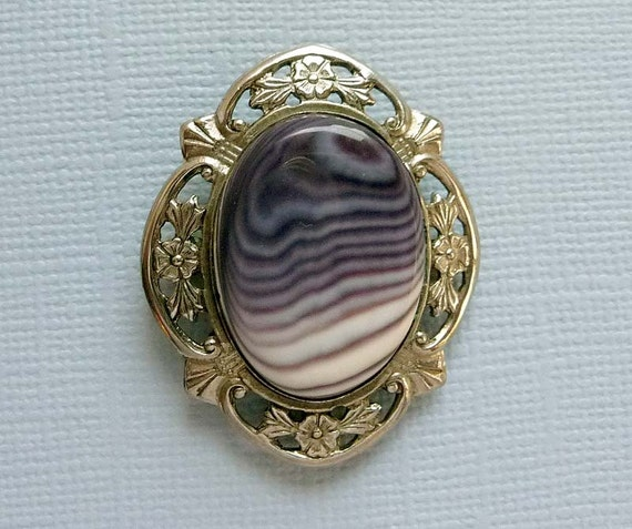 Sterling Chryophase Cameo Framed w Flowers Brooch Pendant