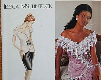 Jessica McClintock Misses' 2 Piece Elegant Dress, Top, Skirt, Simplicity 0615 Sewing Pattern UNCUT, Sizes 16, 18, 20