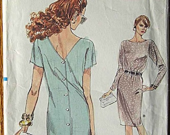 Misses' Dress with Back Button Closing, Vintage Vogue 7179 Sewing Pattern UNCUT Sizes 6, 8, 10