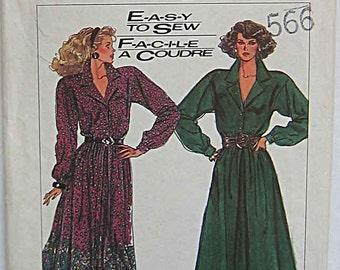 Vintage 80's Misses' Dress, Shirtdress, Simplicity 8221 Sewing Pattern UNCUT, Sizes 14-20