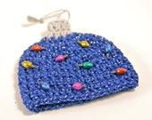 Jailey Bugs Crochet Blue Sparkly Ornament Hat/Beanie with Christmas Lights  sizes Newborn - Adult....