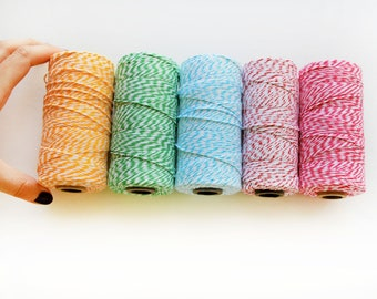 Bakers Twine, 25 Yards of Divine Twine, cotton two color twine trim, choose 1 color - TWINE trim not in Spool, A550