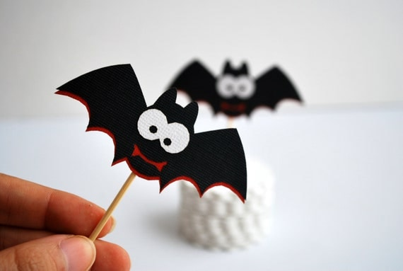 12 spooky bat toppers vampire party picks cupcake toppers toothpicks food picks - Bat Halloween Decorations