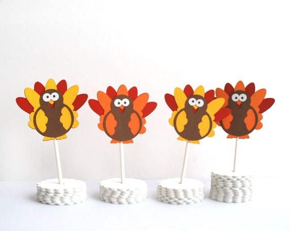 12 Thanksgiving Cupcake Toppers, Handmade Thanksgiving Toppers, Die cut Toppers, Turkey Cupcake Toppers A370