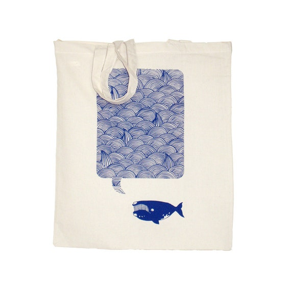 Waves Whale Song Navy Eco Friendly Canvas Shopper Hand Pulled
