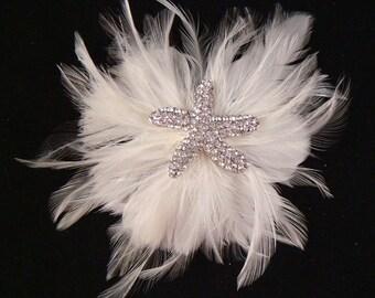 Bridal Rhinestone STARFISH WHITE Feather Flower Hair Clip Brooch Pin / bridal hair flower bridal starfish clip