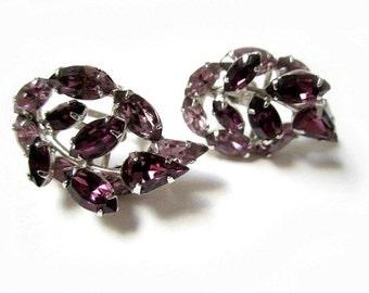 Purple Rhinestone Sterling Earrings Lavender Vintage Sterling Silver Signed Screw Back