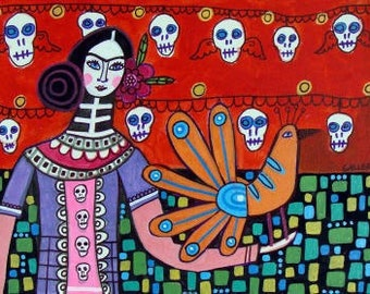60% Off- Day of the Dead Print - Sugar Skulls Mexican Folk Art Poster Frida Kahlo (HG364)