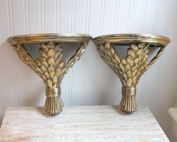 ON HOLD for a special customer... 2 Wheat Wall Hanging Vintage Shelf or Sconce Gold Holiday Home Decor