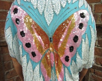 Vintage 1970s-80s trophy Butterfly bead sequin Shirt Top Blouse Silk Deco draped -Blue Pastels NWT