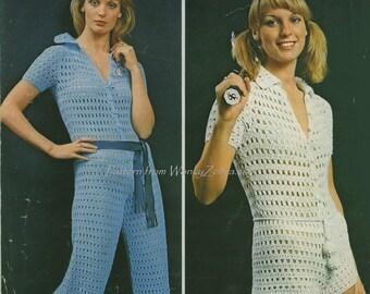 Vintage Crochet PDF Pattern Culotte Jump Suit 377 from WonkyZebra