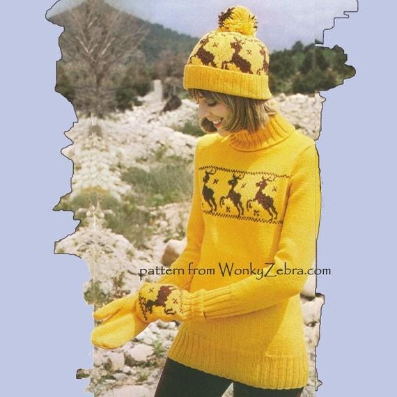 Sweater Pattern Vintage Knitable 263 PDF Reindeer Motif Sweater from WonkyZebra