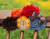RESERVED for Patricia H. FREE SHIPPING Thanksgiving Turkey Headband - Brown Orange Fall - Baby Child
