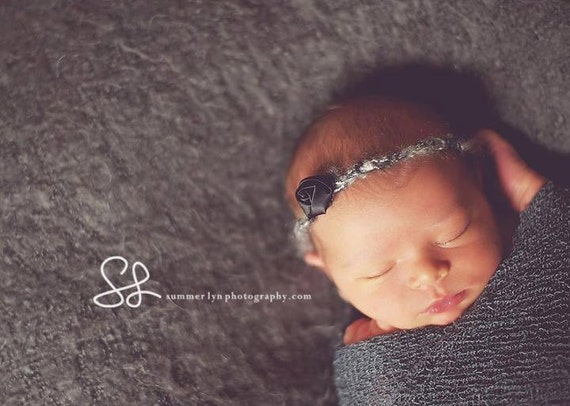 Newborn Photography Prop Halo: Gorgeous Tiny Black Rosette Halo Headband. Adjustable to fit Newborn - Toddler.
