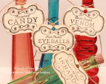 Halloween Gift Tags - Assortment of Mini Halloween Tags - Vintage Inspired Handmade Halloween Tags (Set of 8)